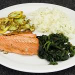 salmon,spinach, carbs